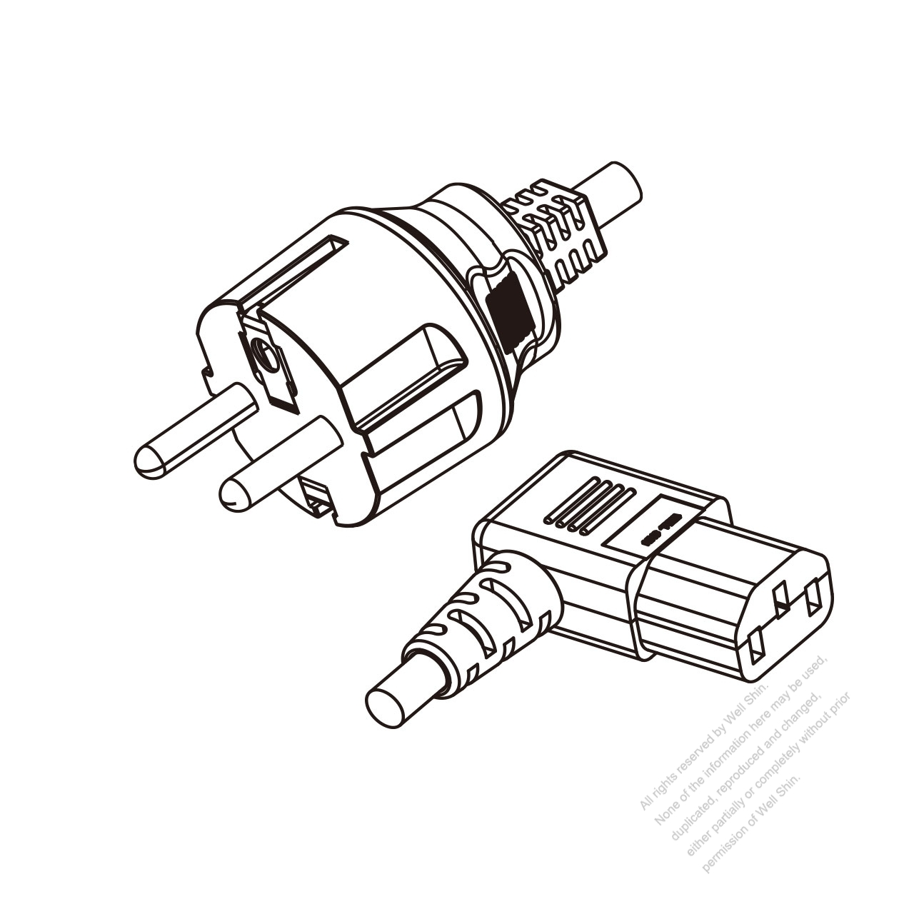 Europe 3 Pin Plug To Iec 320 C13 Right Angle Power Cord Set Pvc Wiring