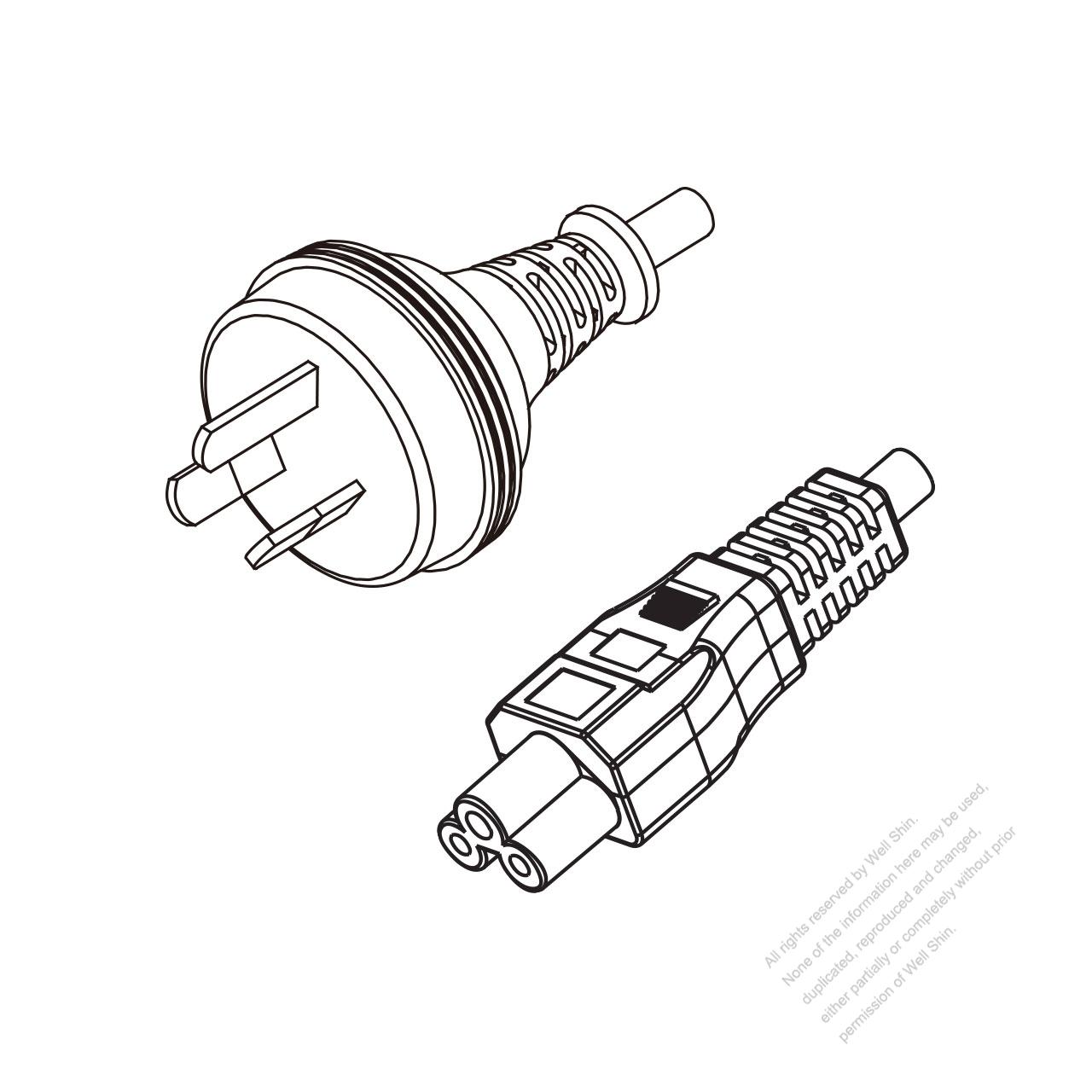 Australia 3 Pin Plug To Iec 320 C5 Power Cord Set Hf