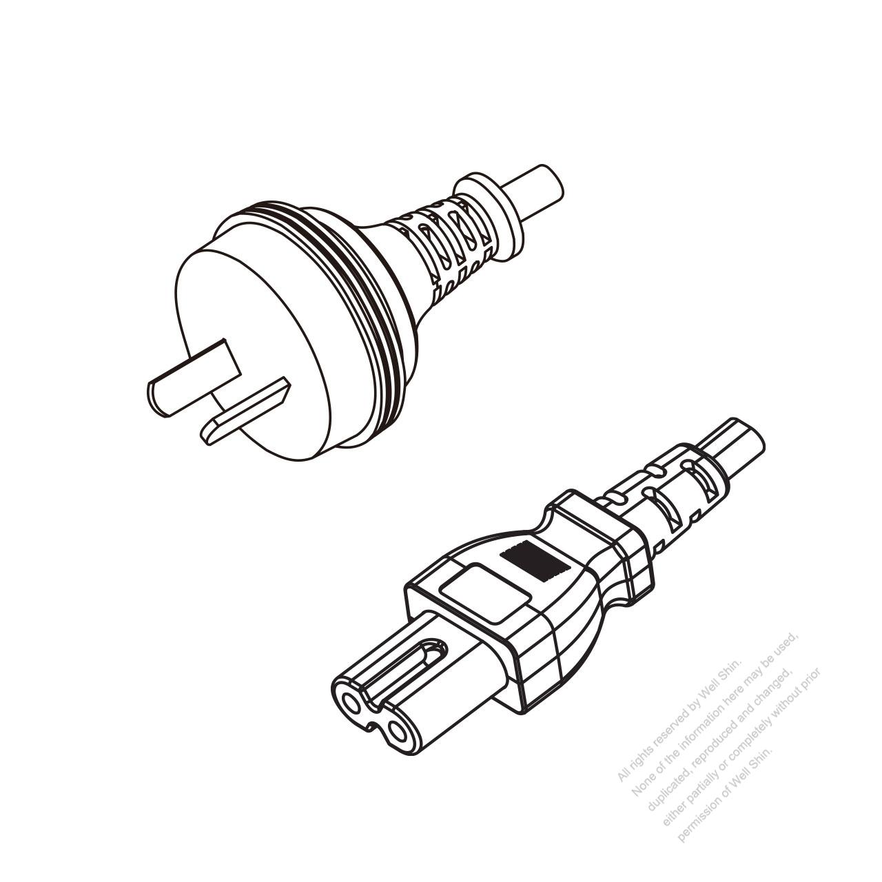 australia 2-pin plug to iec 320 c7 power cord set  hf