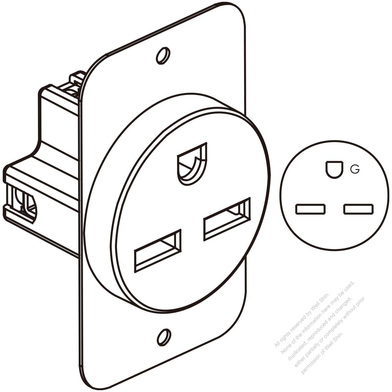 usa  canada flush mount receptacle nema 6