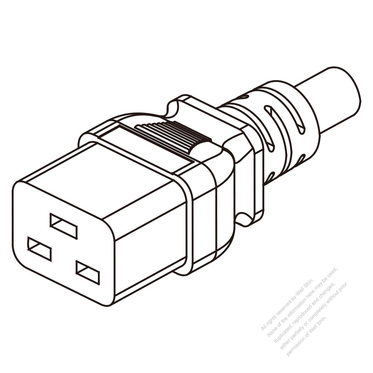iec 320 c19 connectors 3-pin straight 16a  20a   125 250v