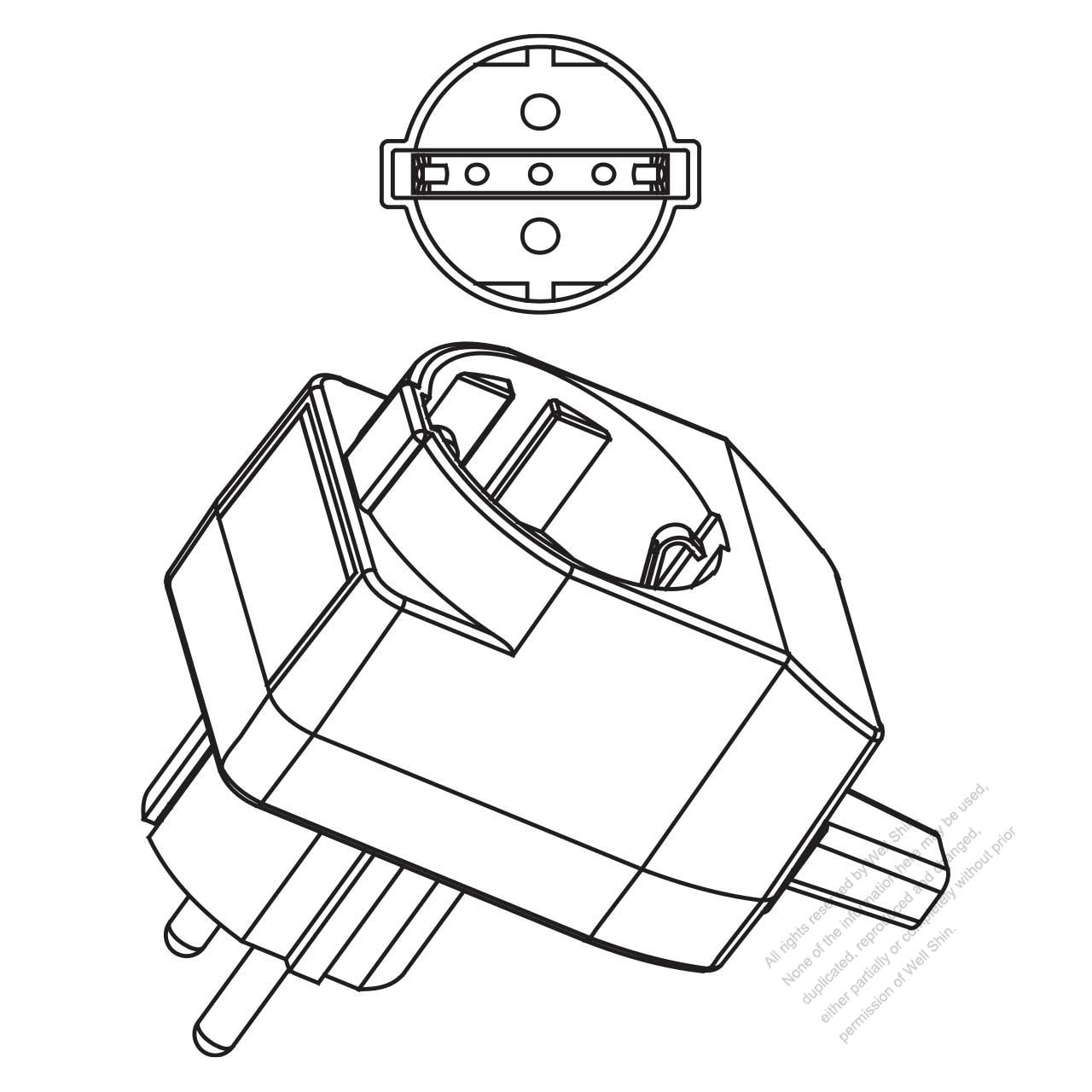 germany 3 pin t shape ac plug 10a 16a 250v well shin technology T- shaped Geometry germany 3 pin t shape ac plug 10a 16a 250v