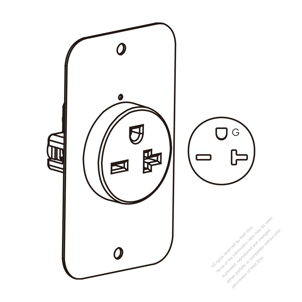 usa  canada flush mount receptacle nema 6 20r   2 p 3