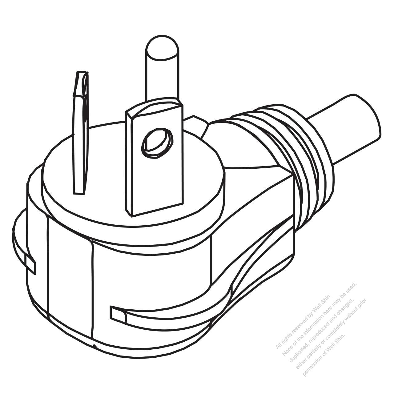 usa  canada nema 7-20p 2 p   3 wire grounding elbow ac plug  20a  277v