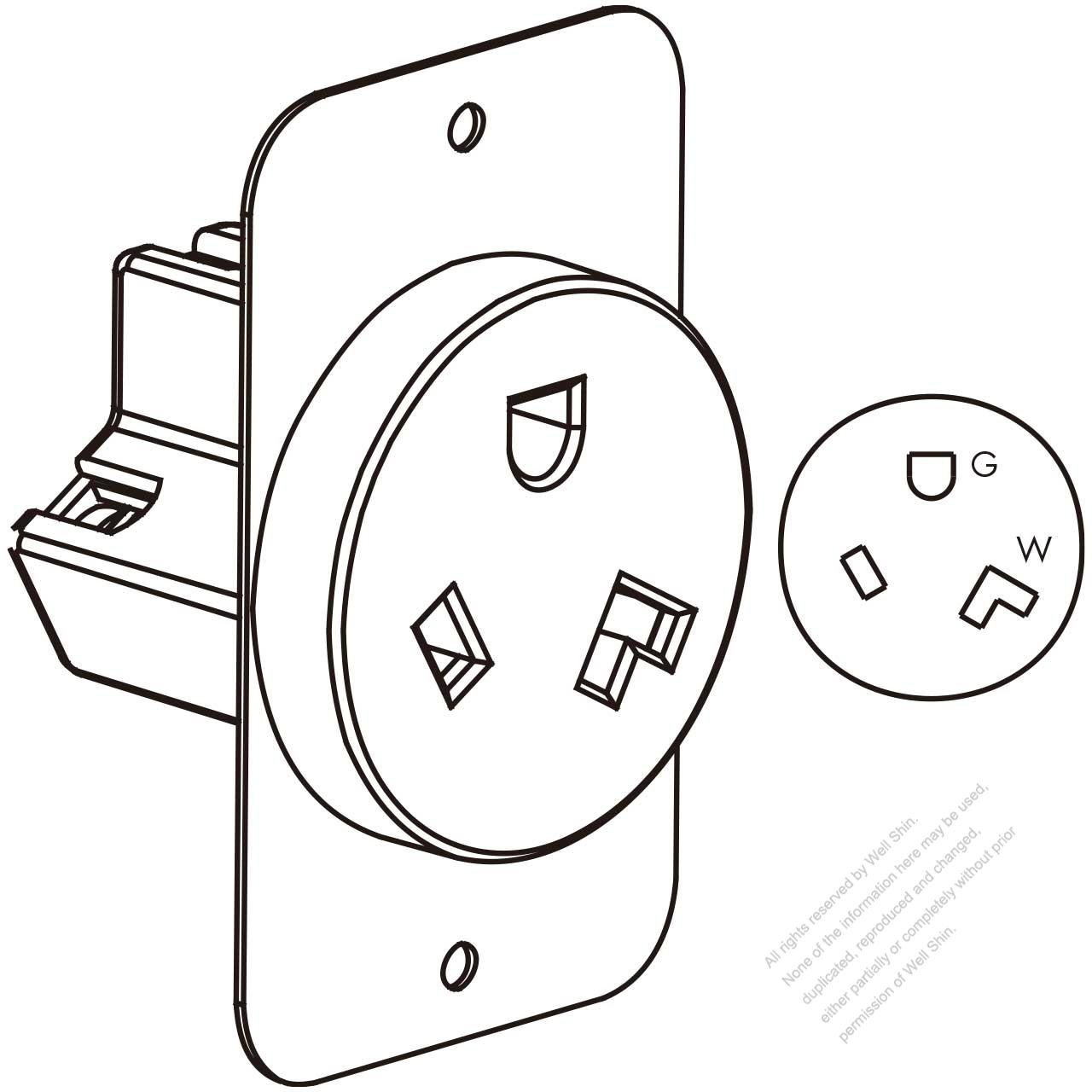 usa canada flush mount receptacle nema 7 30r 2 p 3 wire grounding 220 Plug Configurations usa canada flush mount receptacle nema 7 30r 2 p 3 wire grounding