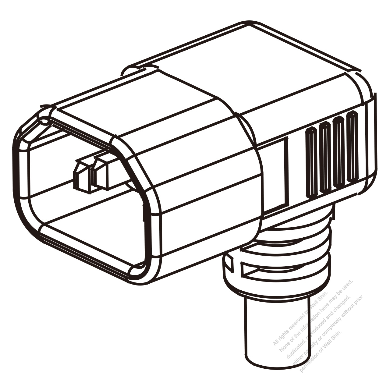uk iec 320 sheet e  c14  plug connectors 3-pin angle 10a 250v