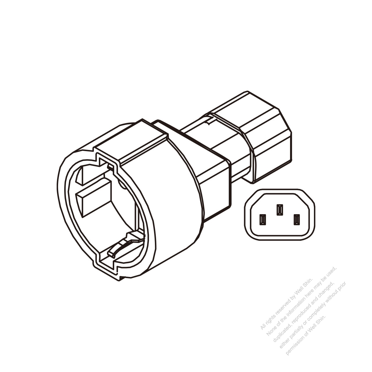 adapter plug  iec 320 sheet e to europe german type  3 to 3-pin 10a 250v
