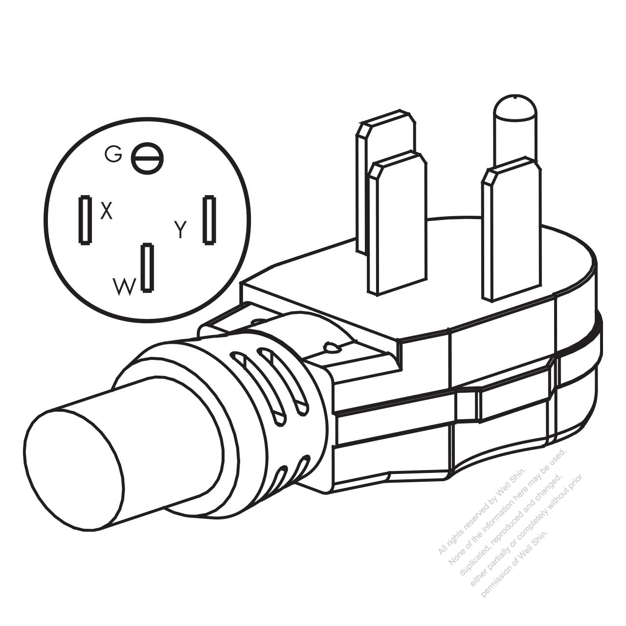 Usa Canada Rv Ac Plug Nema 14 50p 3 P 4 Wire Grounding Elbow 50 20r Wiring Diagram