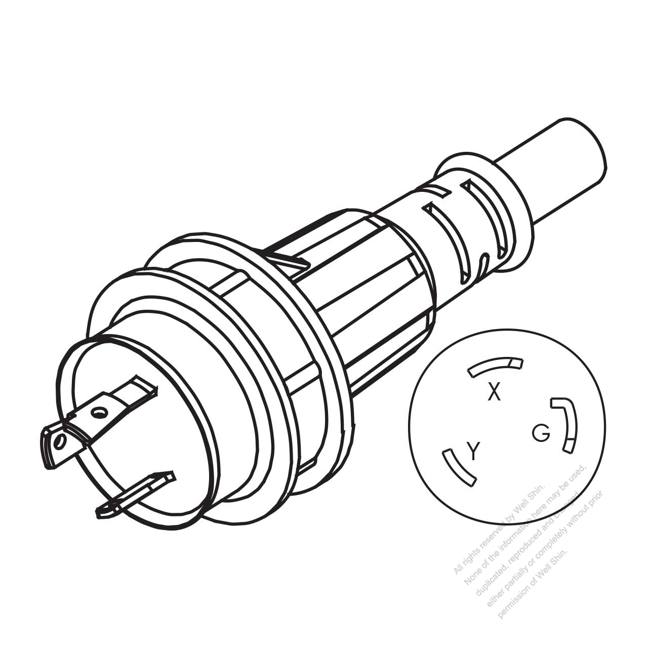 usa canada marine shore ac plug nema l6 30p twist locking 2 p 3 Nema L6-30P Plug usa canada marine shore ac plug nema l6 30p twist locking 2