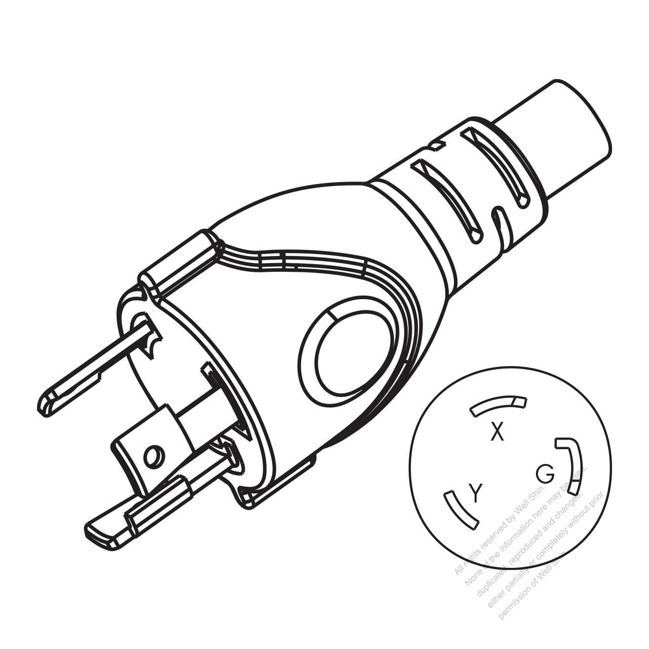 usa canada nema l6 30p twist locking ac plug 2 p 3 wire grounding NEMA L5- 30P usa canada nema l6 30p twist locking ac plug 2 p 3