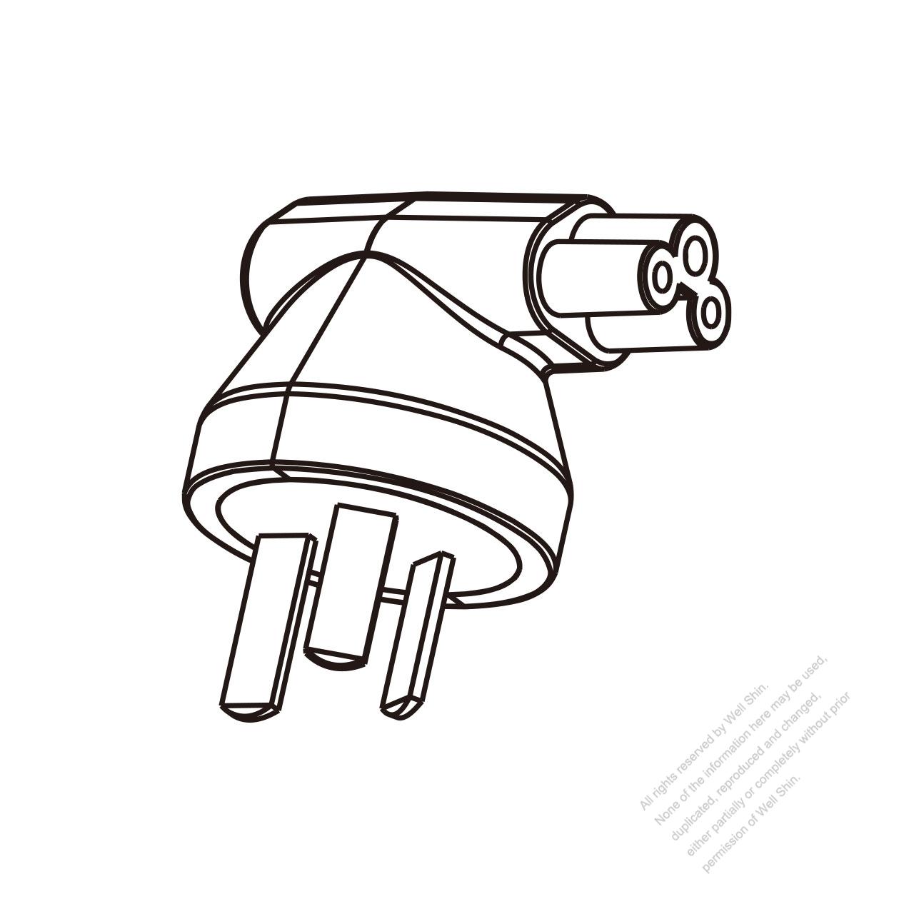 adapter plug  china angle type to iec 320 c5 female