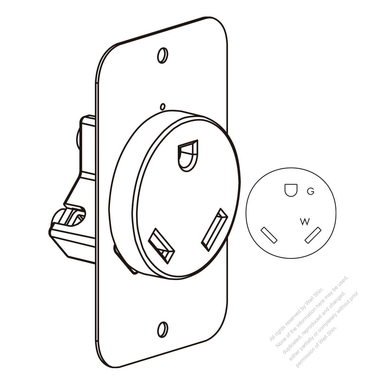 usa  canada flush mount receptacle nema tt-30r  2 p 3 wire grounding 30a 120v