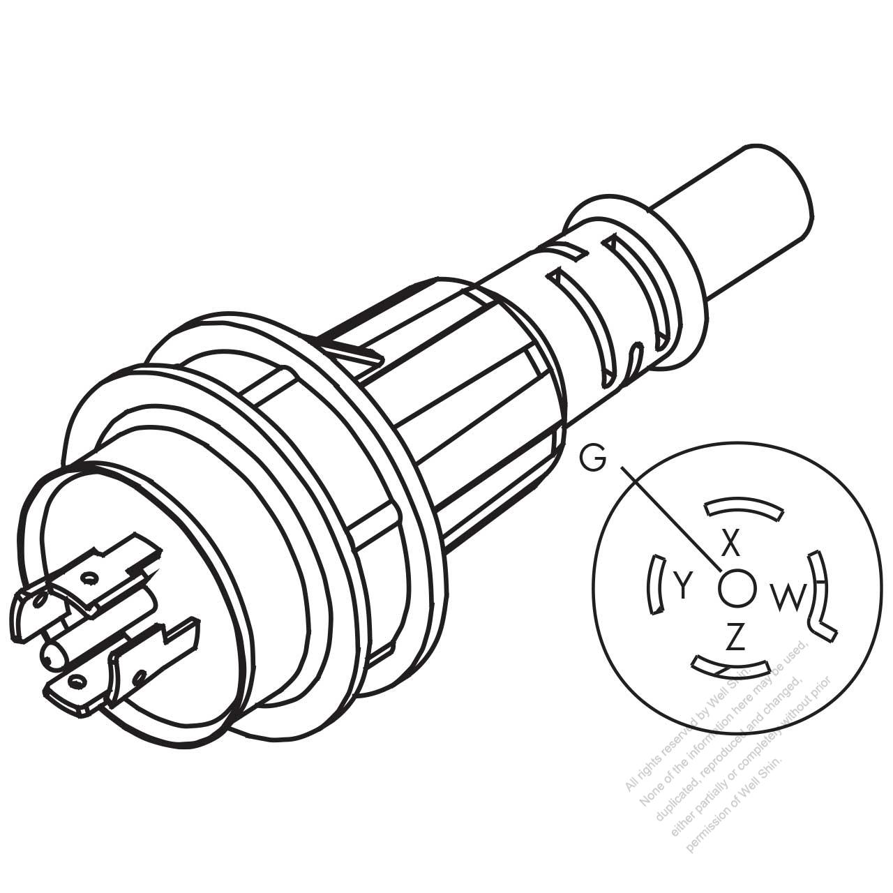 usa  canada ac plug  nema l21-20p  20a 3 u00d8y 120  208 v  4 p   5 wire grounding