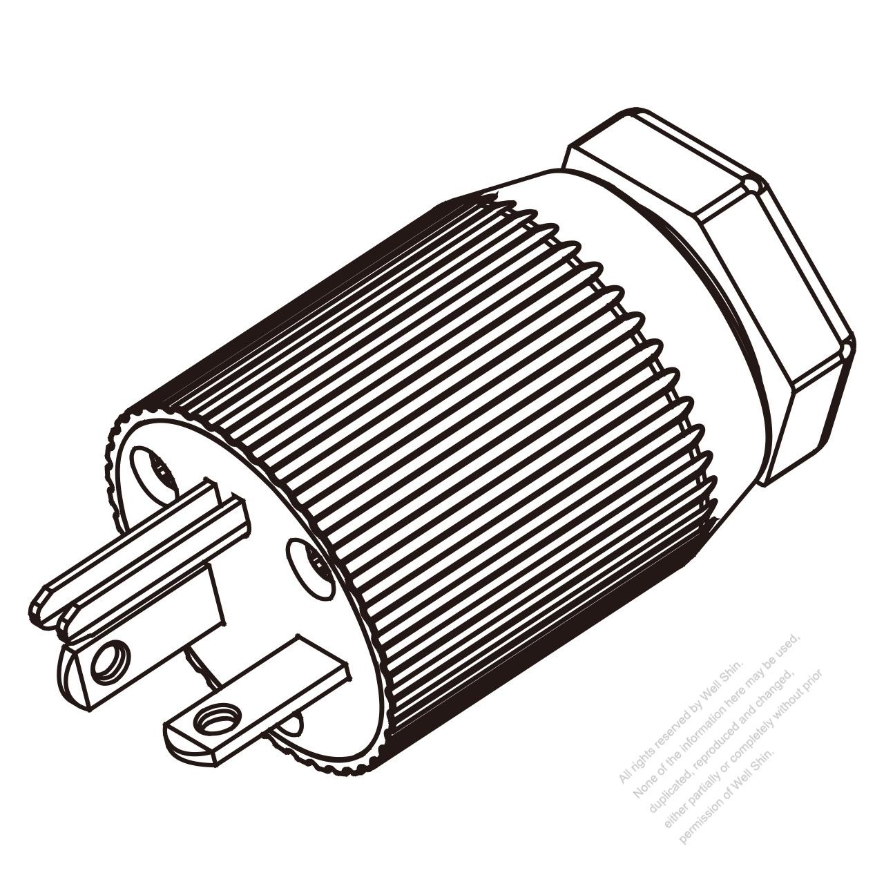 usa  canada  nema 6-20p  3-pin straight blade plug  2 p  3 wire grounding 20a 250v