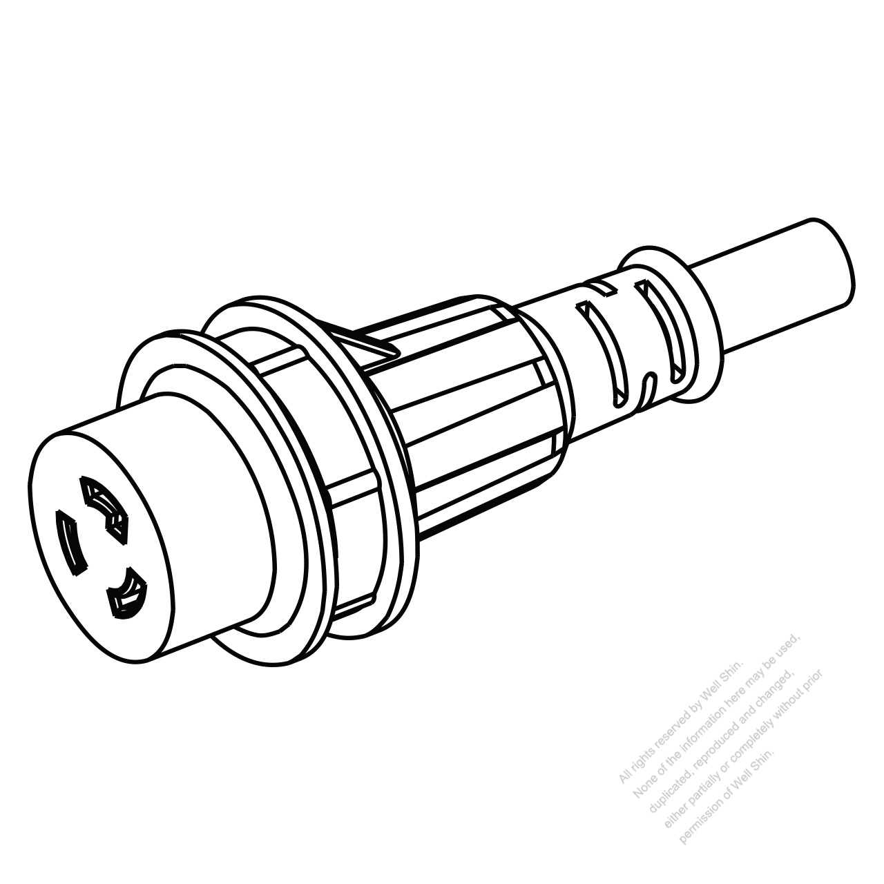 marine shore twist locking waterproof connector  nema l6