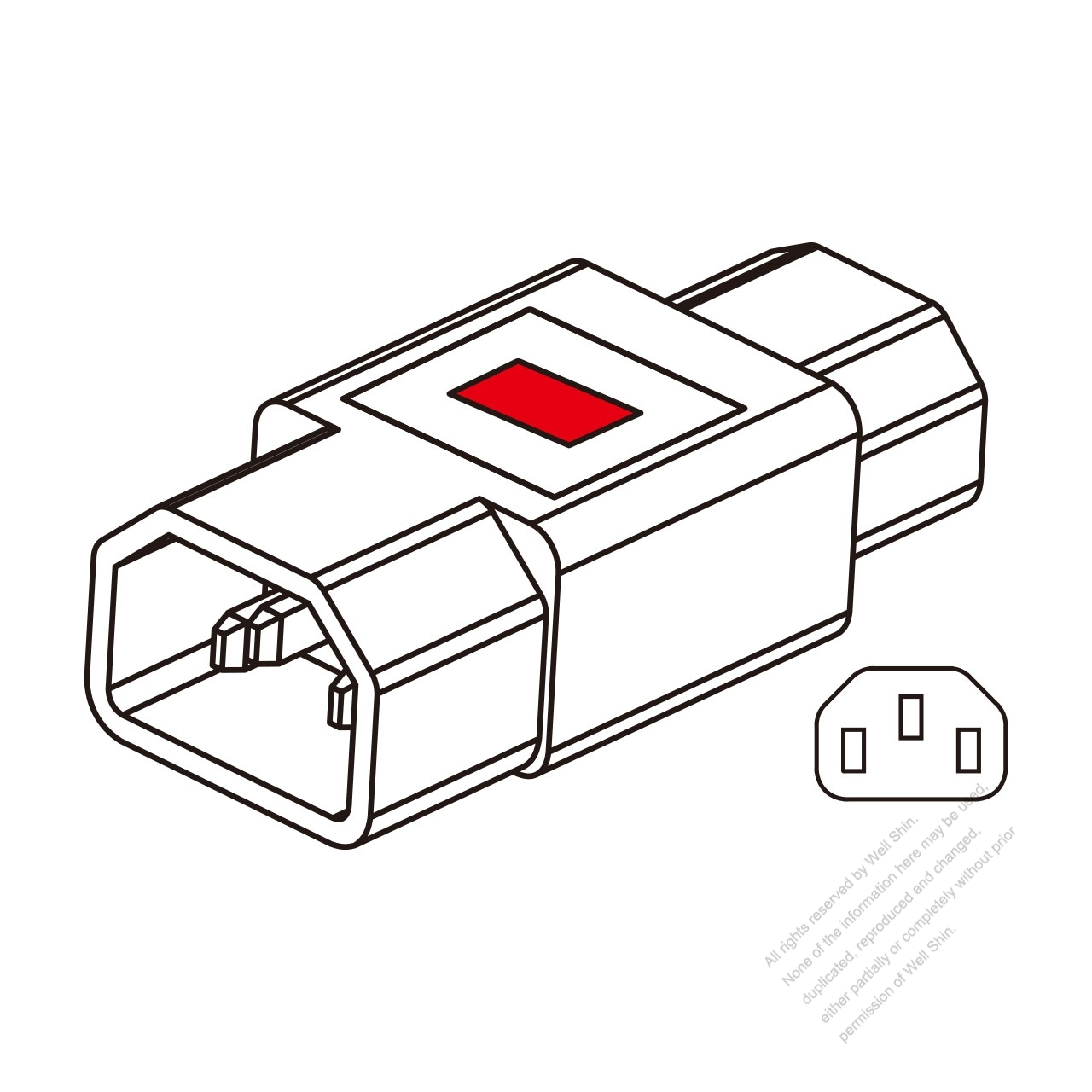 adapter plug  iec 320 sheet e inlet to c13 female