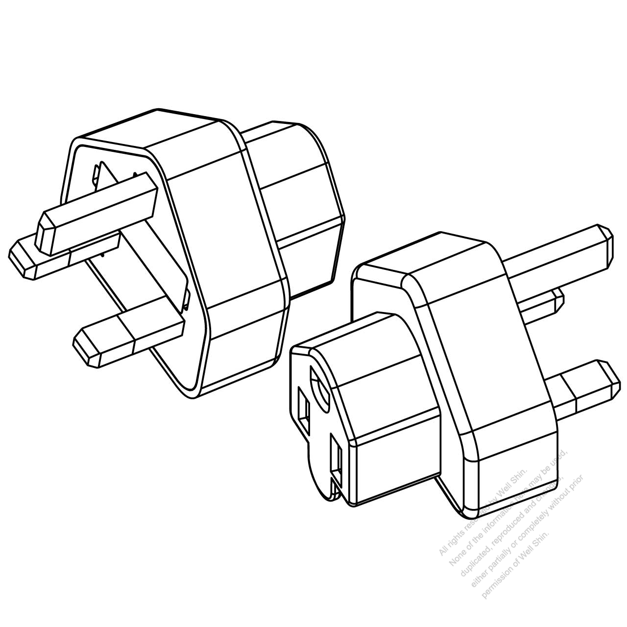 adapter  uk plug to nema 5-15r connector  3 to 3