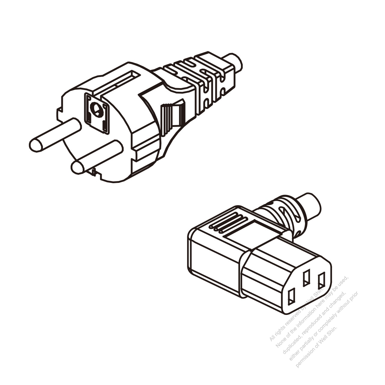 Europe 3-Pin Plug To IEC 320 C13 (Left Angle) AC Power Cord ... on