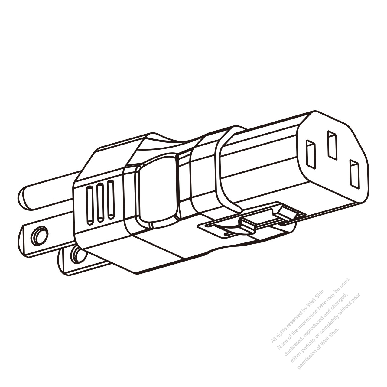 adapter plug  usa type to iec 320 c13 female connector 3