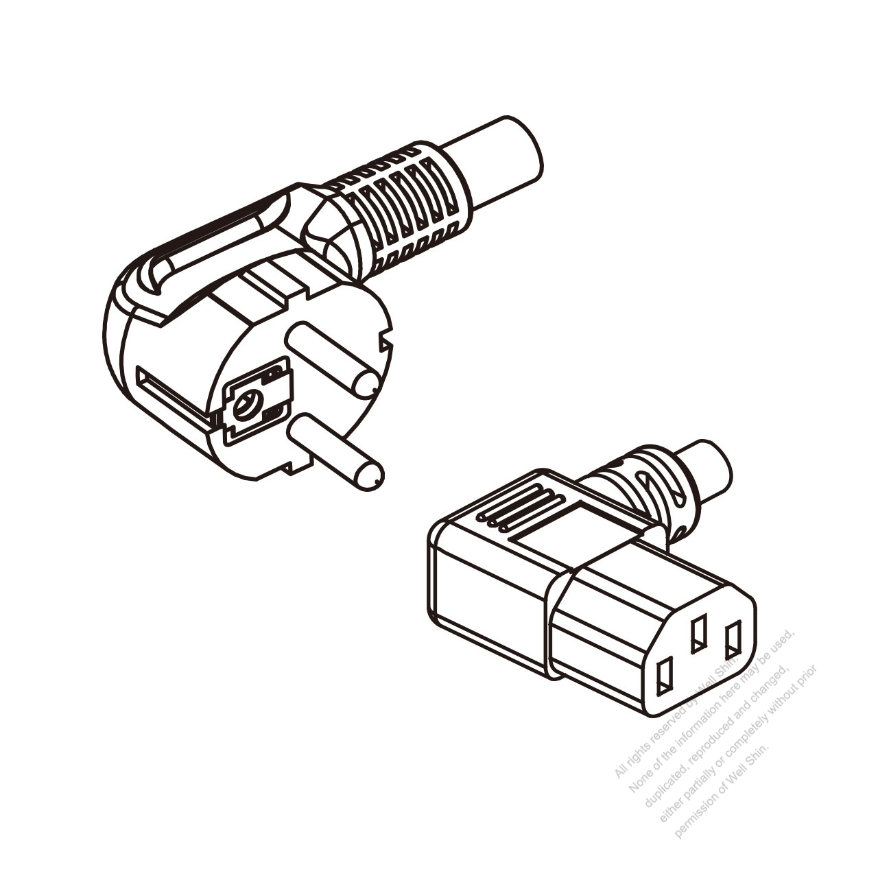Europe 3 Pin Angle Plug To Iec 320 C13 Left Ac Power Cord Wiring Color Diagram
