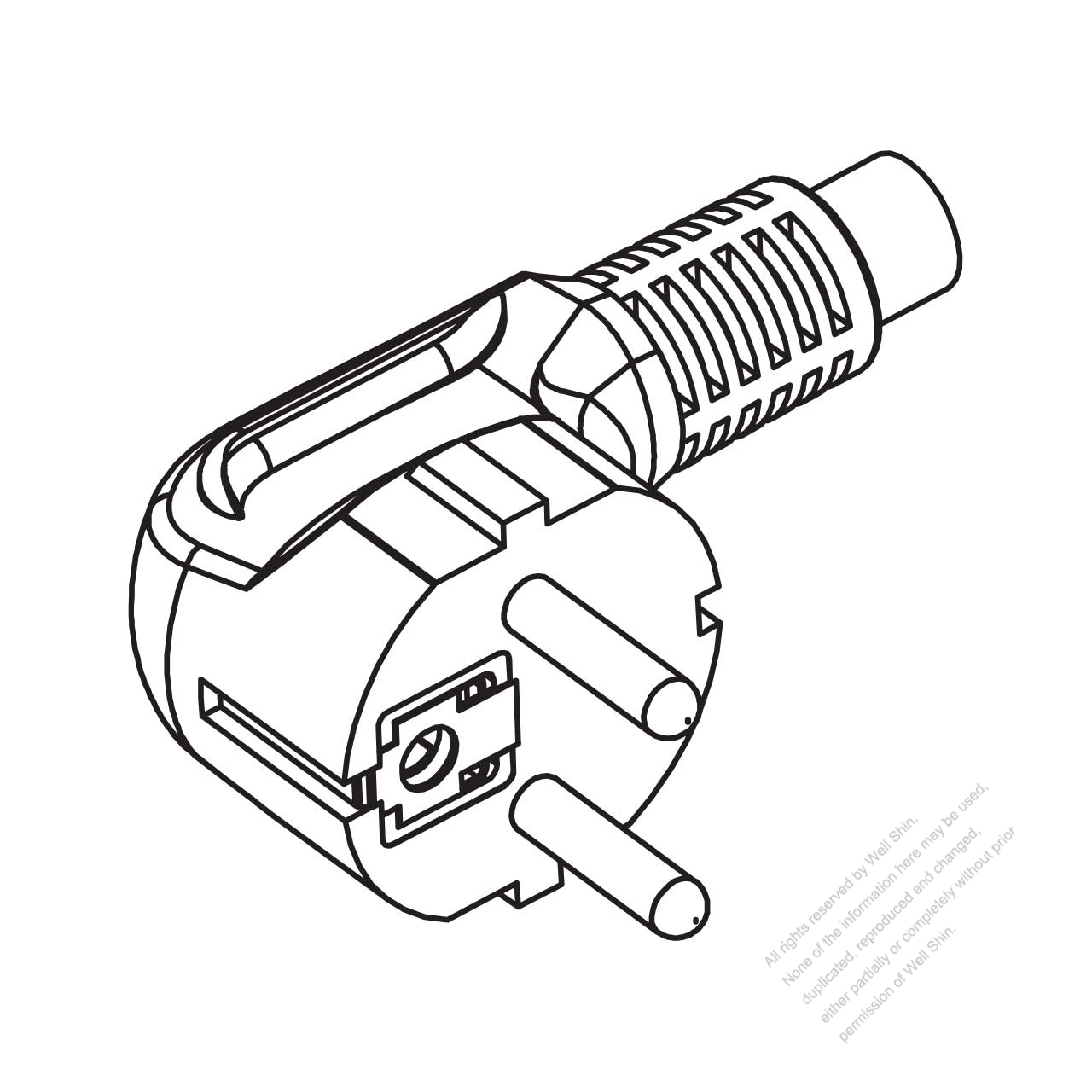 germany 3-pin elbow ac plug  10