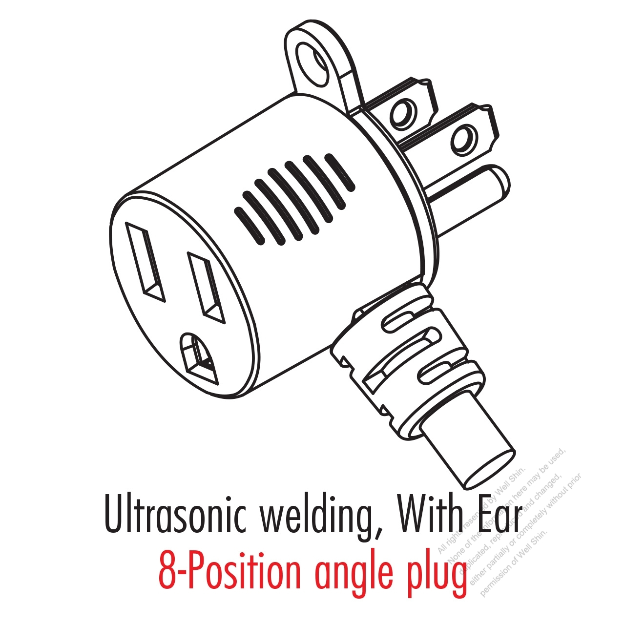 Taiwan Japan 3 Pin T Shape Straight Ac Plug 715a 125v Well Shin Wiring
