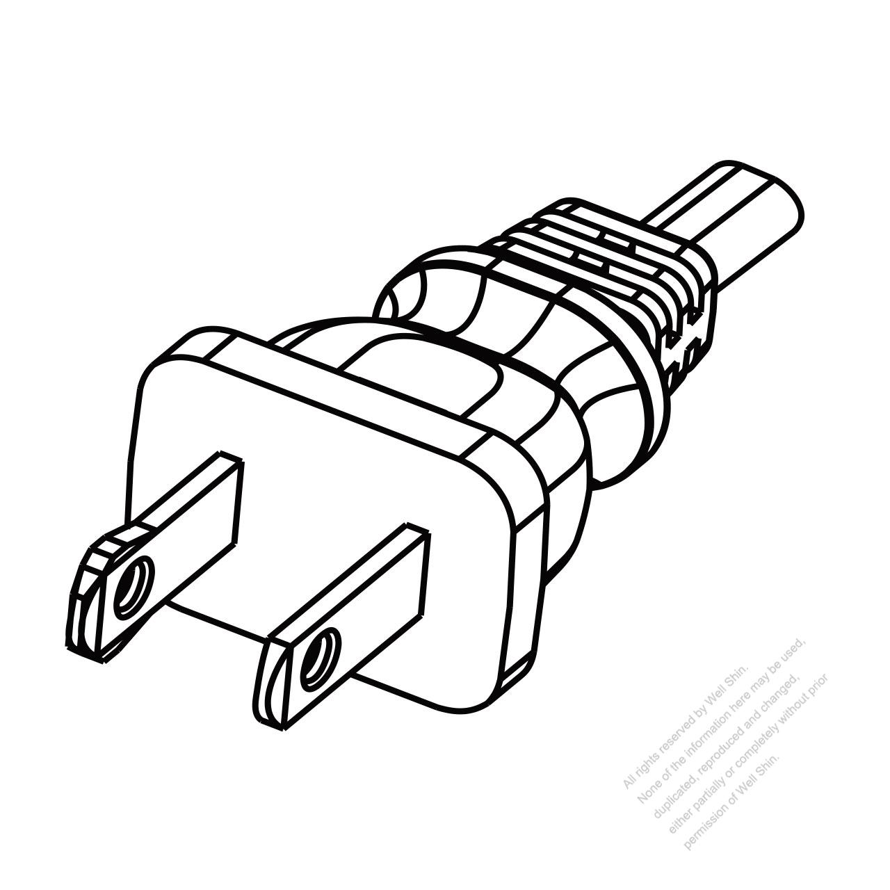 US/Canada 2 Pin NEMA 1-15P Polarized Plug/ Cable End Remove Outer ...