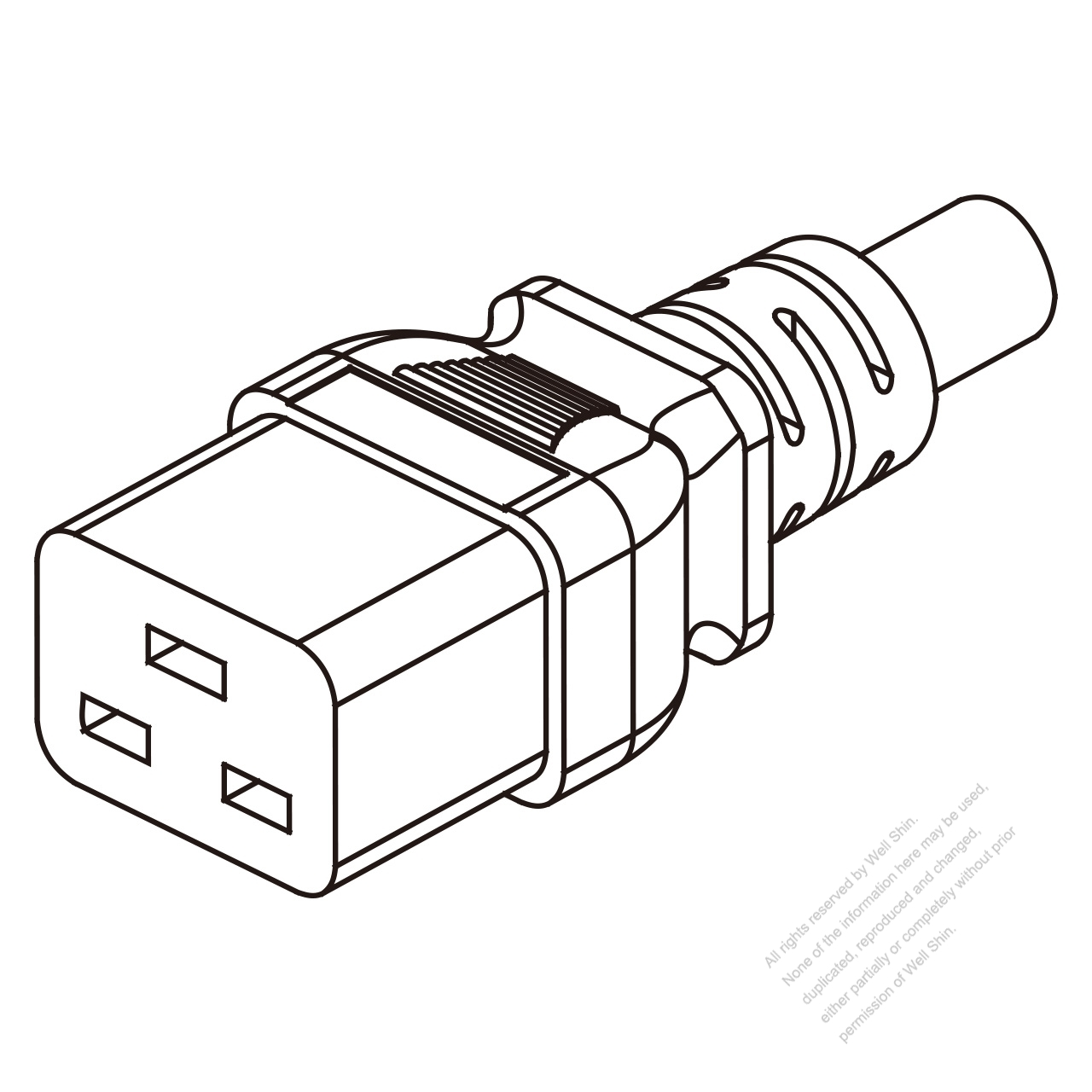 iec 320 c19 connectors 3-pin straight 16a 250v