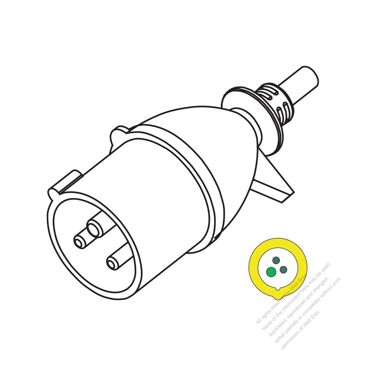 Iec 309 2p E Ip 44 Splash Proof Ac Plug 16a 110v 4h