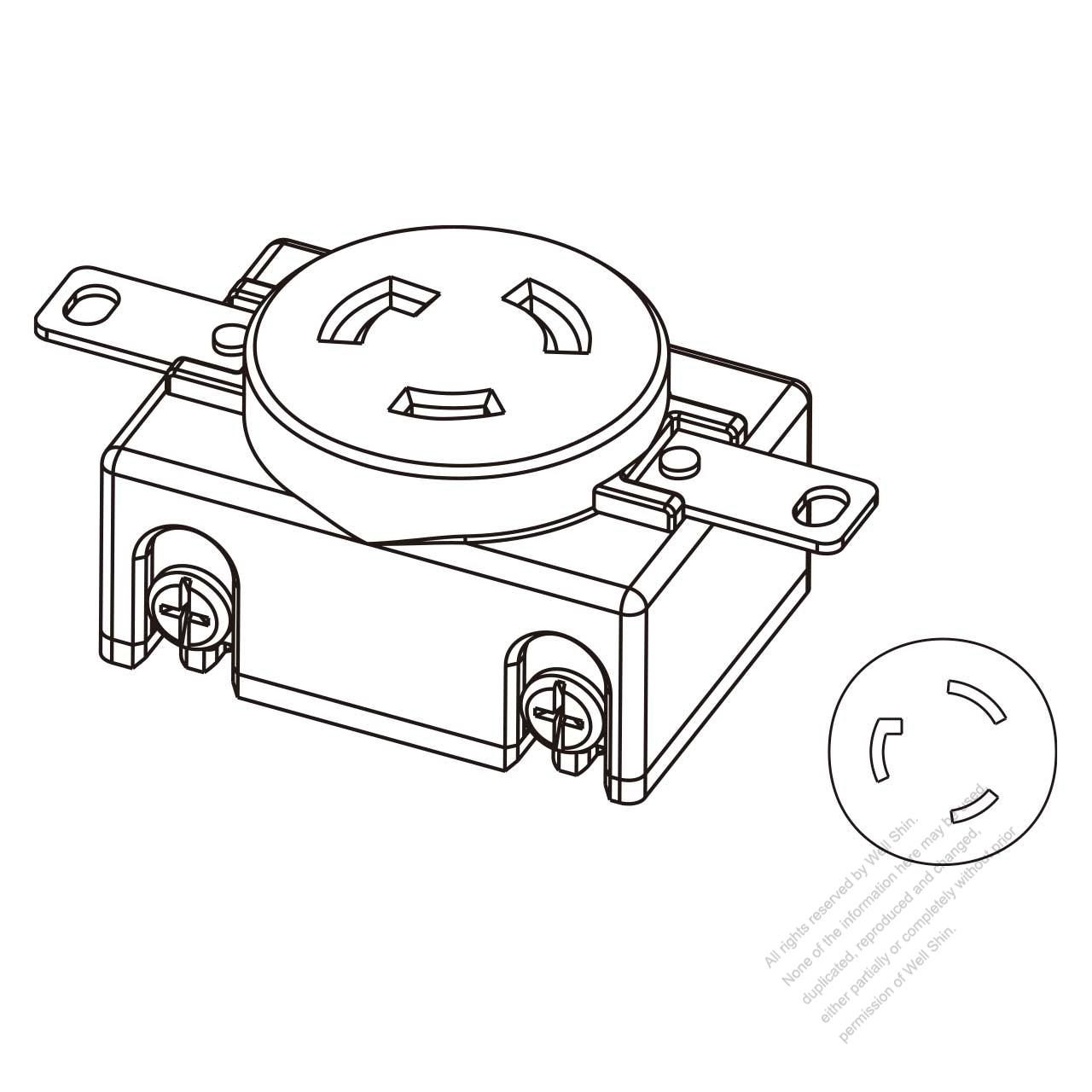 usa  canada locking single flush receptacle nema l6-20r  2 p 3 wire grounding 20a 250v