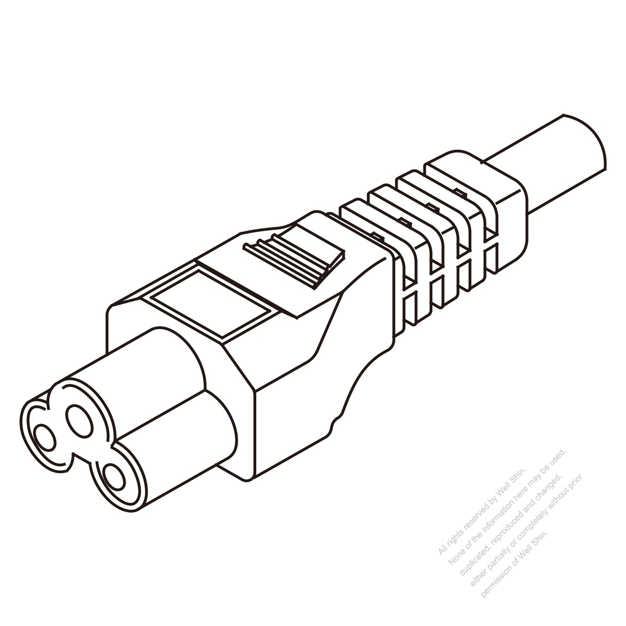 iec 320 c5 connectors 3-pin straight 2 5a   3-7a   10a 125v  2 5a   7a  10a 250v