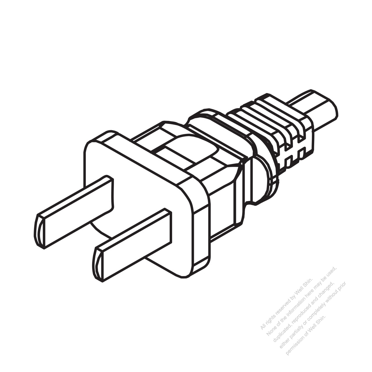 China 2-pin Plug   Cable End Cut Ac Power Cord