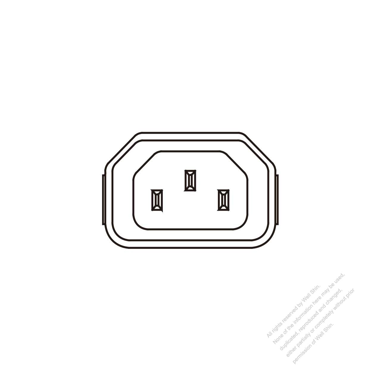 iec 60320-1  c14  appliance inlet 10a 250v