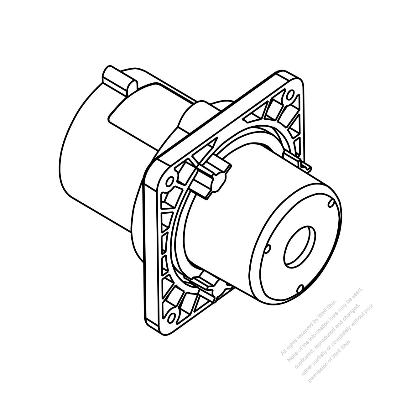 iec 309 interlock inlet  2 p 3 wire  ip 44 splash proof