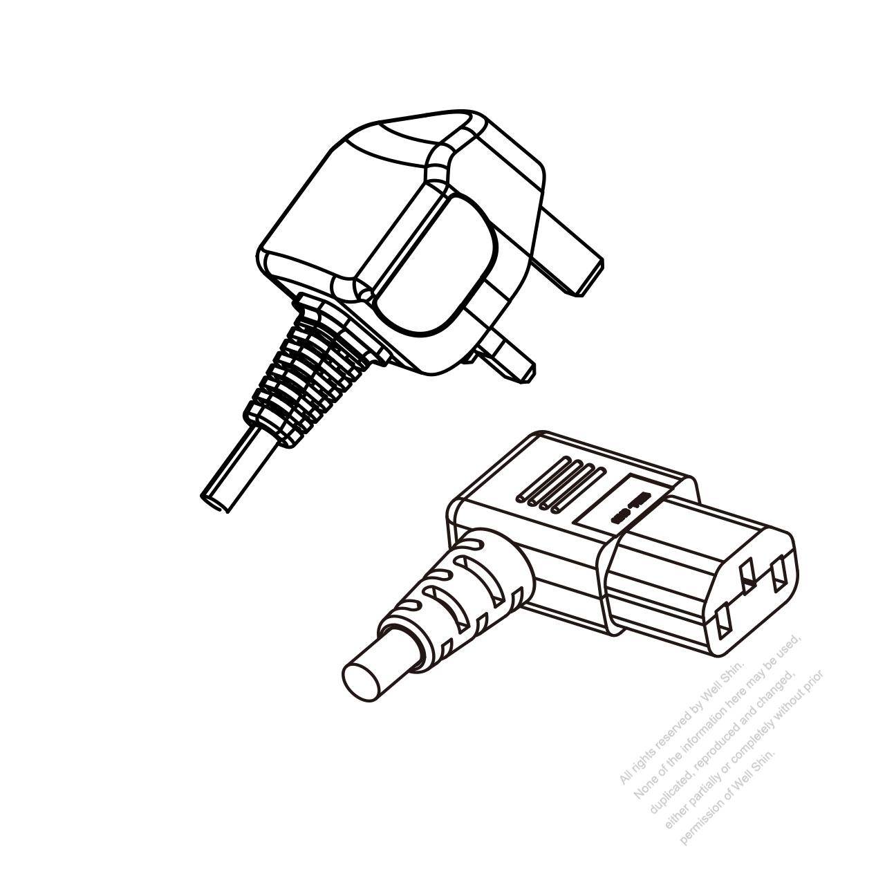 uk 3-pin plug to iec 320 c13 right angle power cord set  hf