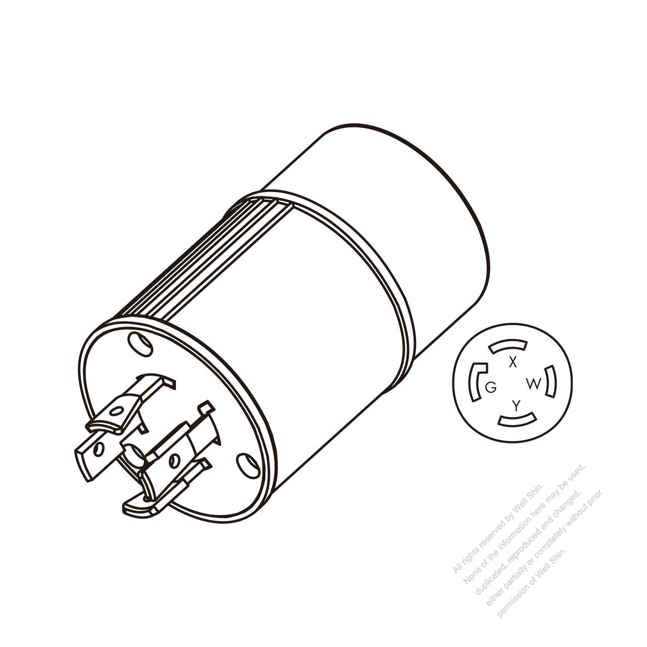 Adapter Plug Nema L14 20p Twist Locking To 30r 3 P 4 Wire Wiring A L1430p