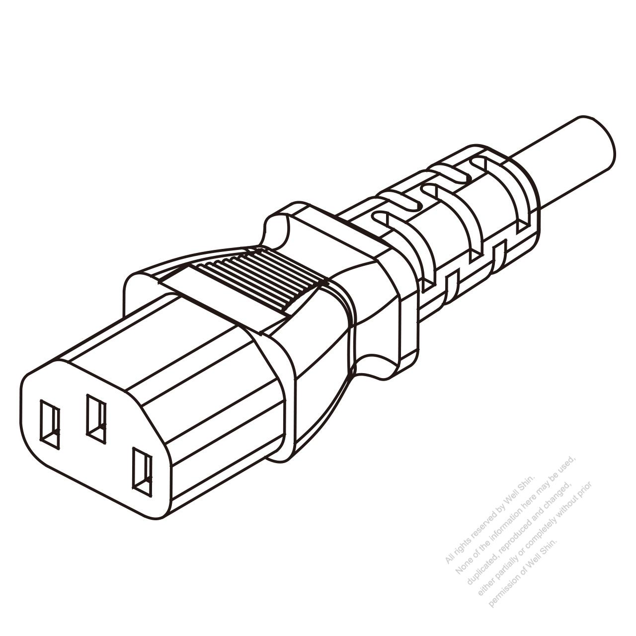 uk iec 320 c13 connectors 3-pin straight 10a 250v