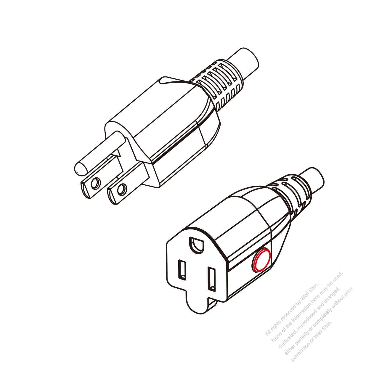 Us Canada 3 Pin Nema 5 15p Plug To Iec 320 5 15r Lock Type