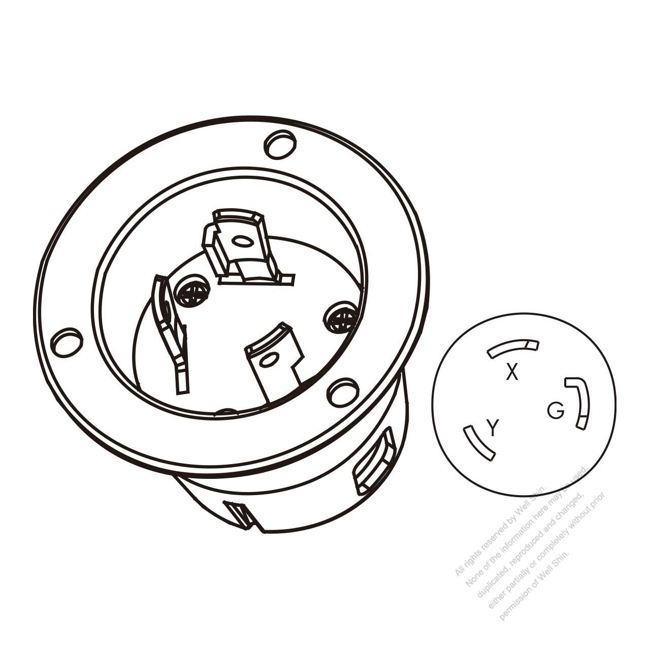 usa canada locking flanged inlet nema l6 30p 2 p 3 wire grounding L6-30P Label usa canada locking flanged inlet nema l6 30p 2 p 3 wire grounding