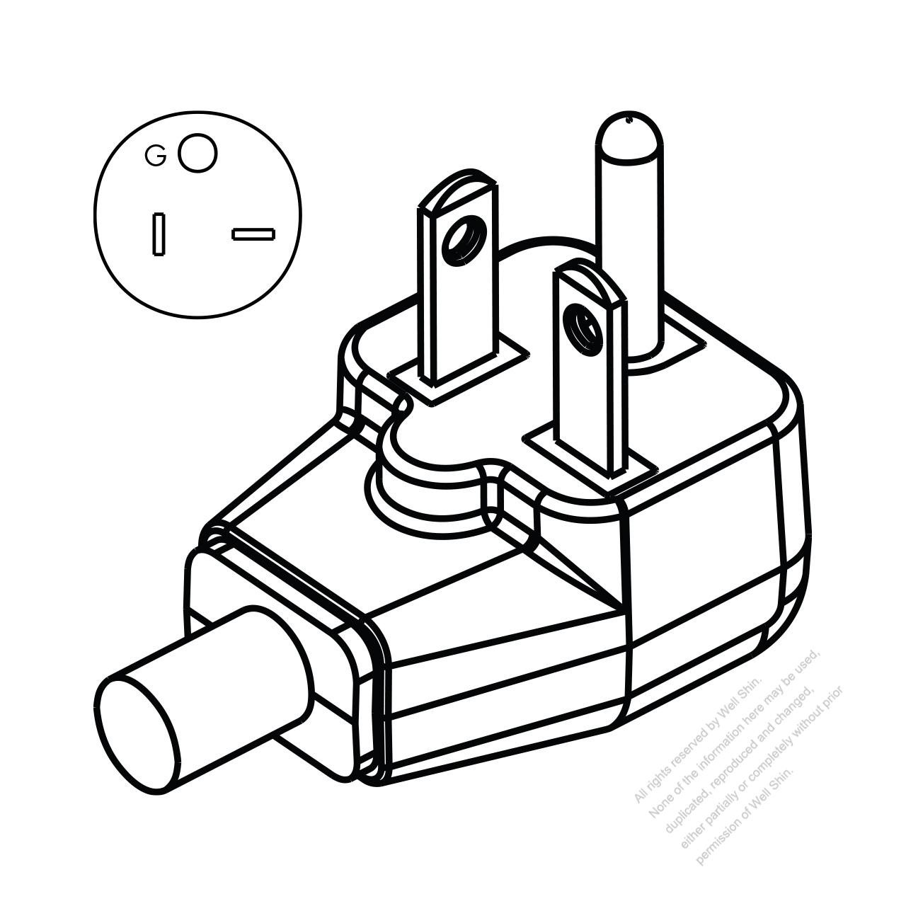 Usa  Canada Nema 6-20p Straight Ac Plug  2 P   3 Wire  Grounding 20a 250v