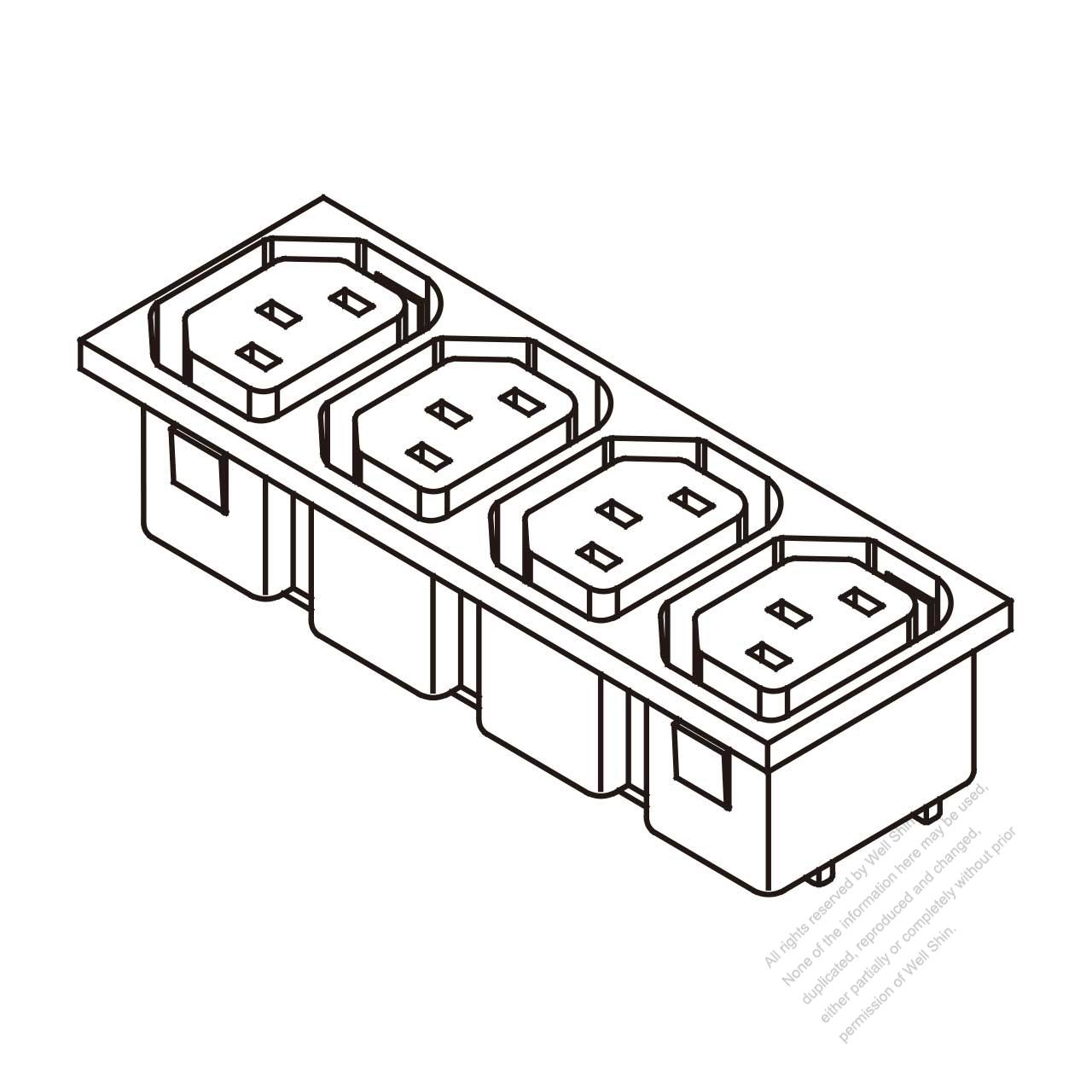 Ac Socket Iec 60320 2 Sheet F Appliance Outlet X 4 10a