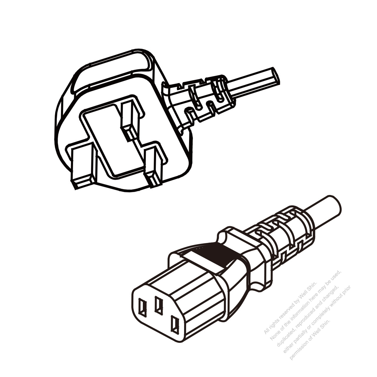Malaysia 3 Pin Plug To Iec 320 C13 Ac Power Cord Set