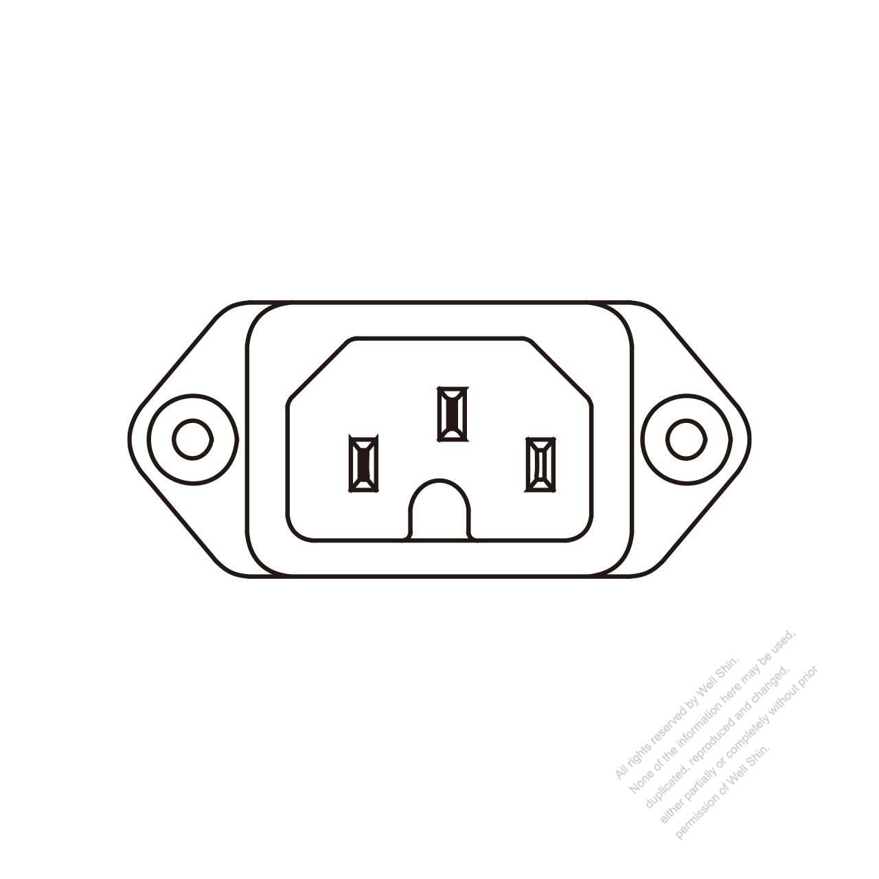 Ac Socket Iec 60320-1  C16  Appliance Inlet  Screw Type  10a   15a