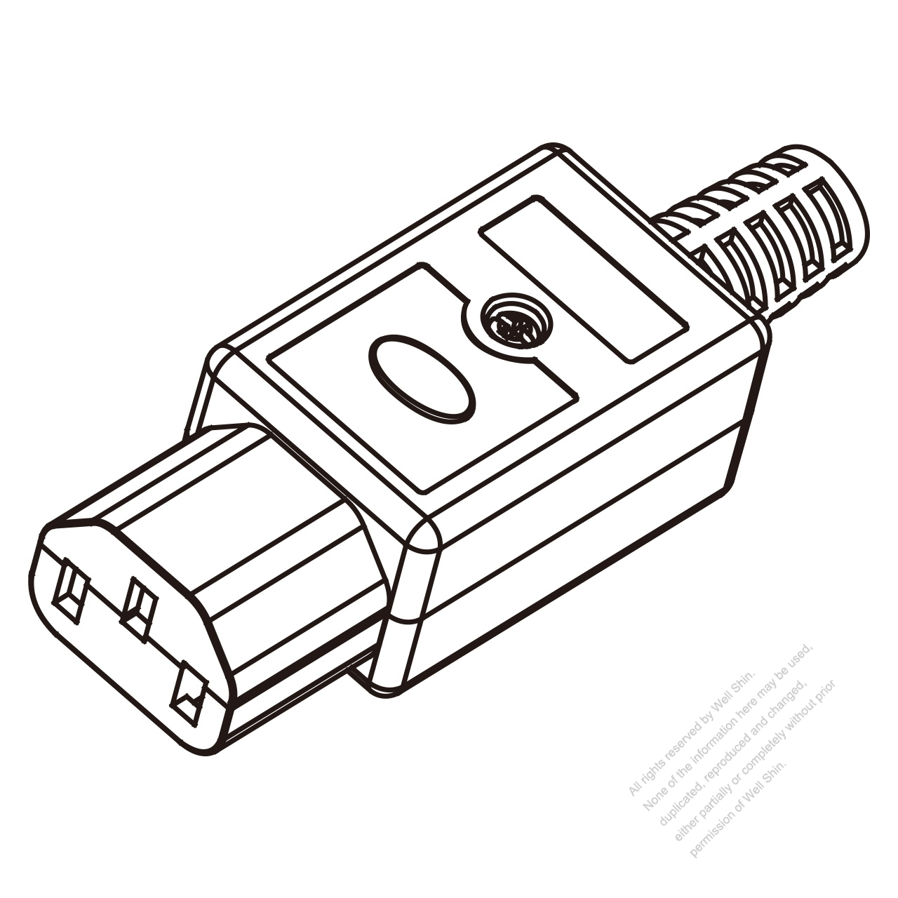 iec 320 c13 connector 3-pin   10a international  15a north american household