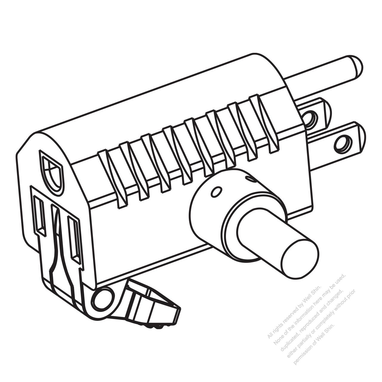 usa  canada nema 5 15r t shape ac plug  2 p   3 wire