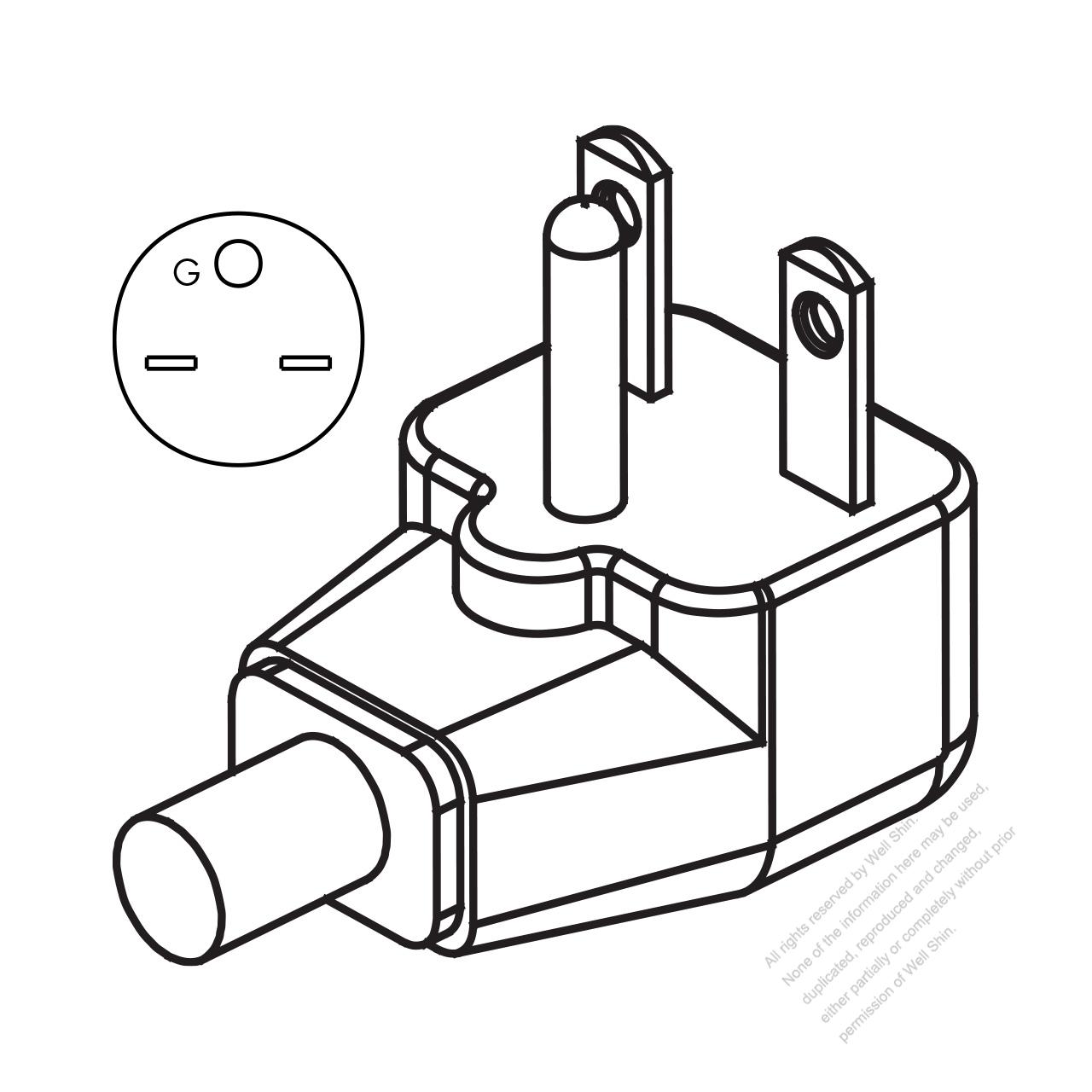 Usa Canada Nema 6 15p Elbow Ac Plug 2 P 3 Wire Grounding 15a 250v 15 Receptacle Wiring Diagram