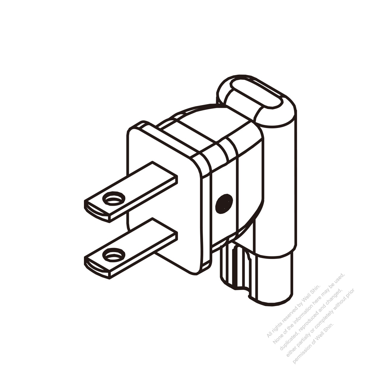 adapter plug usa angle type to iec 320 c7 female connector 2 to 2