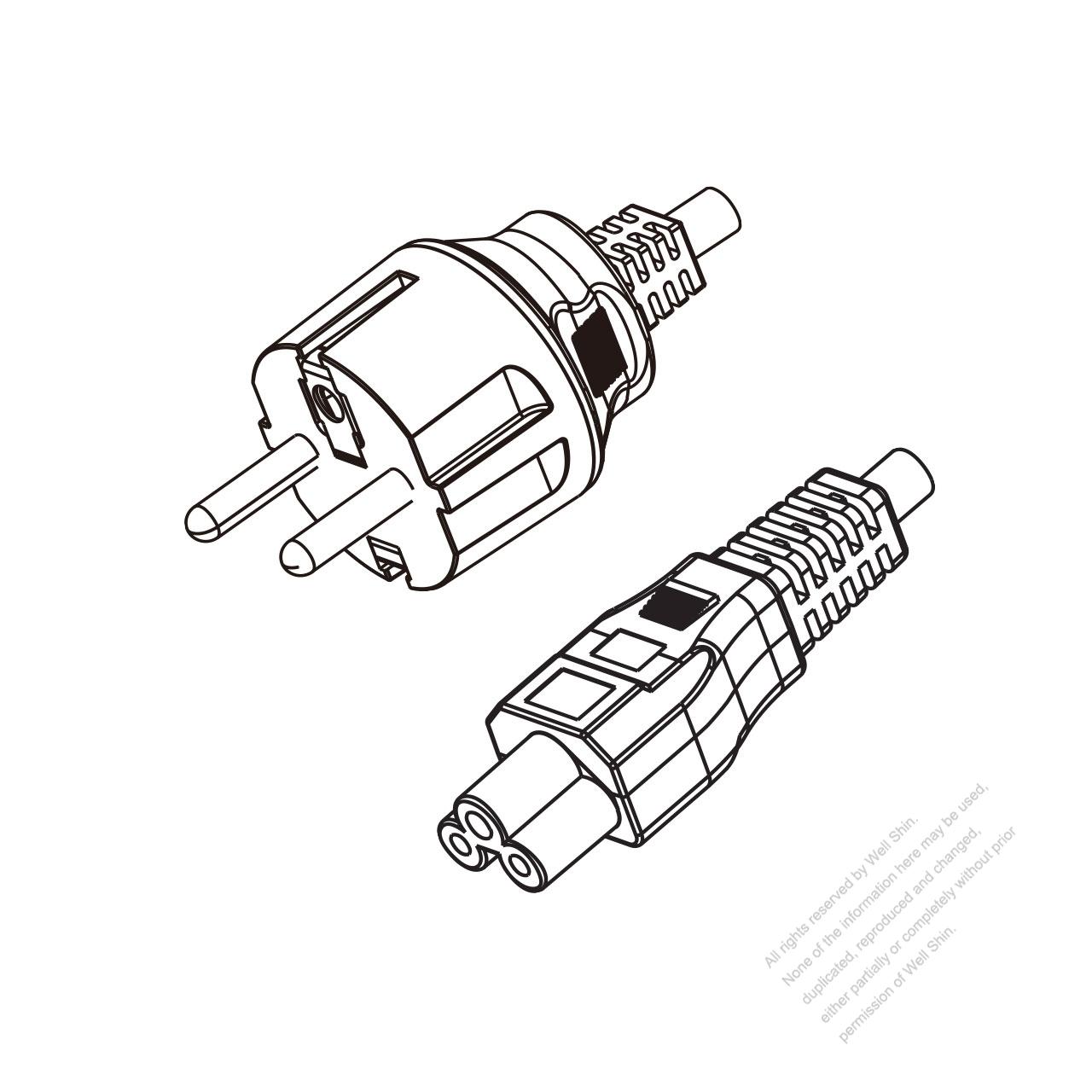 korea 3-pin plug to iec 320 c5 power cord set  hf