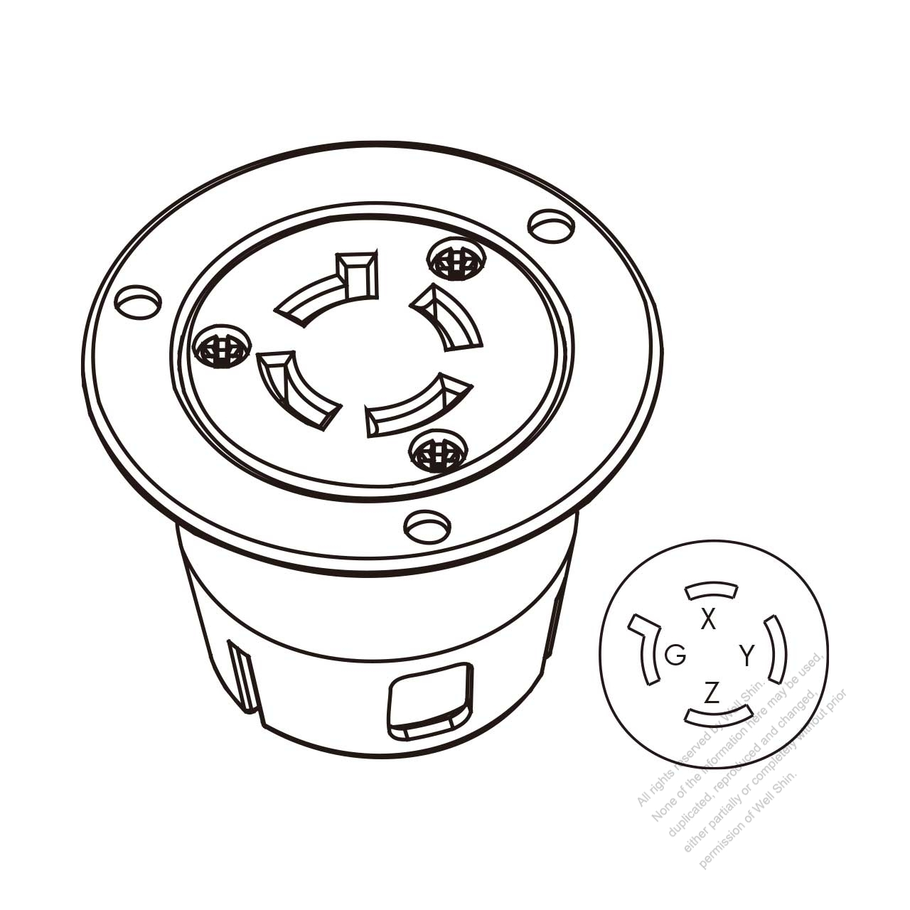 usa  canada locking flanged outlet nema l15