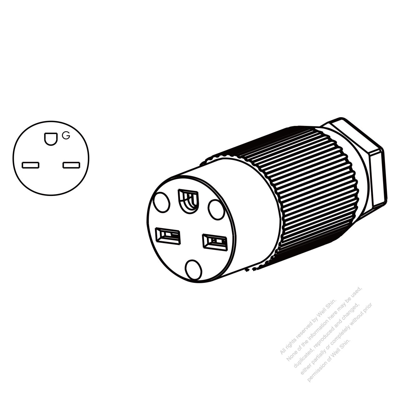 usa canada connector nema 6 15r 3 pin straight 2 p 3 wire Nema 6- 20R usa canada connector nema 6 15r 3 pin straight 2